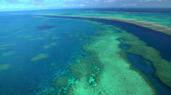 Aerial tropical view Great Barrier Reef South Pacific Ocean Queensland Australia Stock Footage