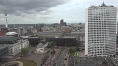 4K Aerial view Birmingham skyline rainy day heavy storm approach town building Stock Footage