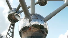 View of the Atomium building in Brussels Stock Footage