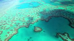 Aerial view Heart Island Great Barrier Reef Pacific Ocean Queensland Australia Stock Footage