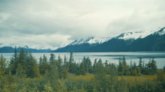Snow capped mountains in Alaska Stock Footage