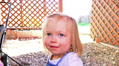Young girl wants to help sweep in barn! DENVER, COLORADO Stock Footage