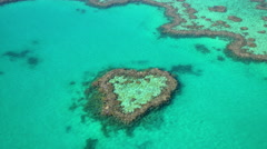 Aerial view Heart Island Great Barrier Reef Pacific Ocean Queensland Australia Stock Footage