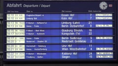 4K Electric boarding train schedule central station railway transportation sign Stock Footage