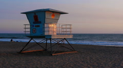 Closed Lifeguard Tower at Beach in Slow Motion Stock Footage