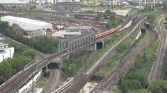 4K Panoramic view German rail transportation depot and railway train traffic day Stock Footage