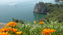Focus change from Duino castle ruins and sea to colorful orange flowers Stock Footage