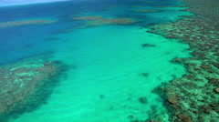 Aerial view of Great Barrier Reef Coral Sea Pacific Ocean Queensland Australia Stock Footage
