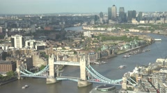 4K Aerial view Canary Wharf and Tower Bridge London skyline British capital icon Stock Footage