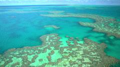 Aerial view of Great Barrier Reef Coral Sea Pacific Ocean Queensland Australia Stock Footage
