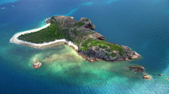 Aerial Island view of Whitsundays Coral Sea South Pacific Queensland Australia Stock Footage