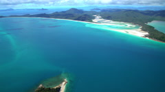Aerial view of Whitehaven Beach Whitsundays South Pacific Queensland Australia Stock Footage