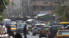 Dakar street scene, African traffic - Senegal Stock Footage