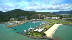 Aerial view of Airlie Beach Pioneer Bay Whitsundays South Pacific Australia Stock Footage