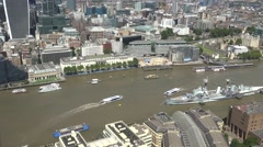 4K Timelapse aerial view traffic boat sail on Thames River London downtown icon Stock Footage