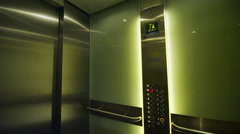 Interior view of an elevator with doors opening Stock Footage