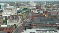 4K Amazing aerial view Manchester skyline beautiful town architecture building Stock Footage