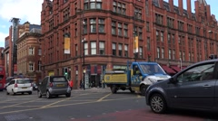 4K Bustling car in downtown Manchester town street jam congestion at rush hour Stock Footage