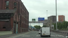 4K POV Point of view car drive on suburban freeway of Manchester town journey Stock Footage