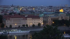 4K Pan right aerial view of amazing Prague skyline old town architecture night Stock Footage