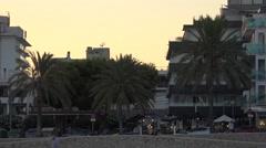 4K Tourist people visit Palma Majorca town building architecture tourism emblem Stock Footage