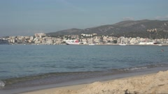 4K Beautiful view of Palma Majorca cityscape and sandy beach urban city town day Stock Footage