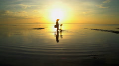 Male fisherman from the indigenous community of Indonesia working outdoors Stock Footage