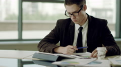 Thinking of business problems Stock Footage