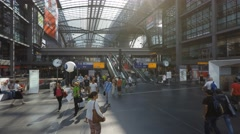 Time lapse of people inside Berlin Hauptbahnhof - main train station Stock Footage