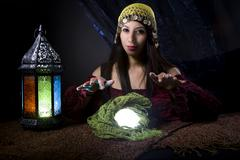 Astrology Fortune Teller with Crystal Ball Stock Photos