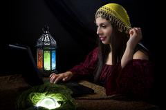 Fortune Teller with Online Business or Website Stock Photos