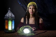 Astrology Fortune Teller with Crystal Ball Kuvituskuvat