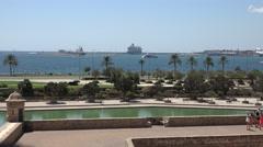4K Aerial view of Palma Majorca port tourist people enjoy exotic park traffic  Stock Footage