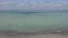 4K Amazing clear turquoise water in Palma Majorca yacht anchor exotic iconic bay Stock Footage