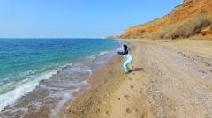 Happy Woman Making Selfie Against Seascape Stock Footage