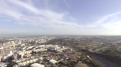 Christ the King statue in lisbon, portugal, aerial shot Stock Footage
