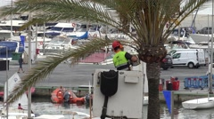 4K Worker man cut with machine dry palm tree leaf in Palma Majorca remove plant Stock Footage