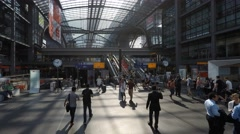 People at crowded main train station ( Berlin Hauptbahnhof) Stock Footage