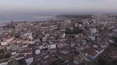 City Buildings near coast Almada Portugal, Aerial Shot Arkistovideo