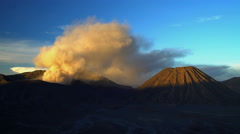Erupting Mt Bromo summit a volcanic mountain Landscape Java Stock Footage