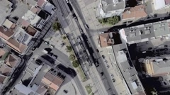 Tram line and city buildings, overhead aerial shot Arkistovideo