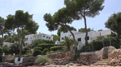 4K Modern white house resort in exotic Palma Majorca bay holiday touristic shore Stock Footage