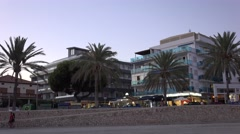 4K Pan right Palma Majorca building hotel in exotic resort tourism destination Stock Footage