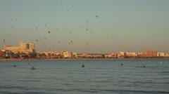 4K Beautiful cityscape of Palma Majorca exotic holiday destination people swim Stock Footage