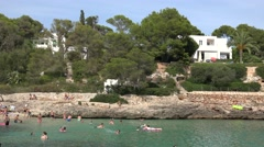 4K Tourist people relax in Palma Majorca gulf famous Spain travel destination Stock Footage