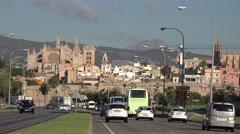 4K Famous Palma Majorca cityscape heavy traffic street in downtown La Seu church Stock Footage