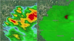 2016 Kokomo, IN Tornado Doppler Radar Split-screen Stock Footage