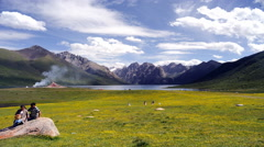 NIANBAO - YUZE plateau scenery time delay in the west of China Stock Footage