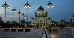 The last ray of the sun draws across the dark sky, Temple of Christ the Savior Stock Footage