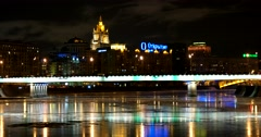 The frozen Moscow river at night in all colors of the rainbow Stock Footage